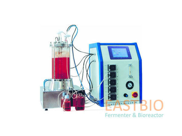 Pt-100 Probe Glass Fermenter , Lab Scale Bioreactor Autoclavable Magnetic Stirred